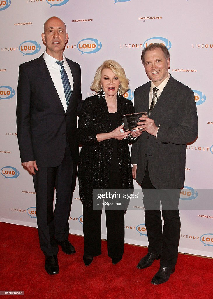 Executive Director of Live Out Loud Leo Preziosi, tv personality <a gi-track='captionPersonalityLinkClicked' href=/galleries/search?phrase=Joan+Rivers&family=editorial&specificpeople=159403 ng-click='$event.stopPropagation()'>Joan Rivers</a> and screenwriter/ playwright <a gi-track='captionPersonalityLinkClicked' href=/galleries/search?phrase=Charles+Busch&family=editorial&specificpeople=227410 ng-click='$event.stopPropagation()'>Charles Busch</a> attend the 12th Annual Live Out Loud Gala at TheTimesCenter on April 30, 2013 in New York City.