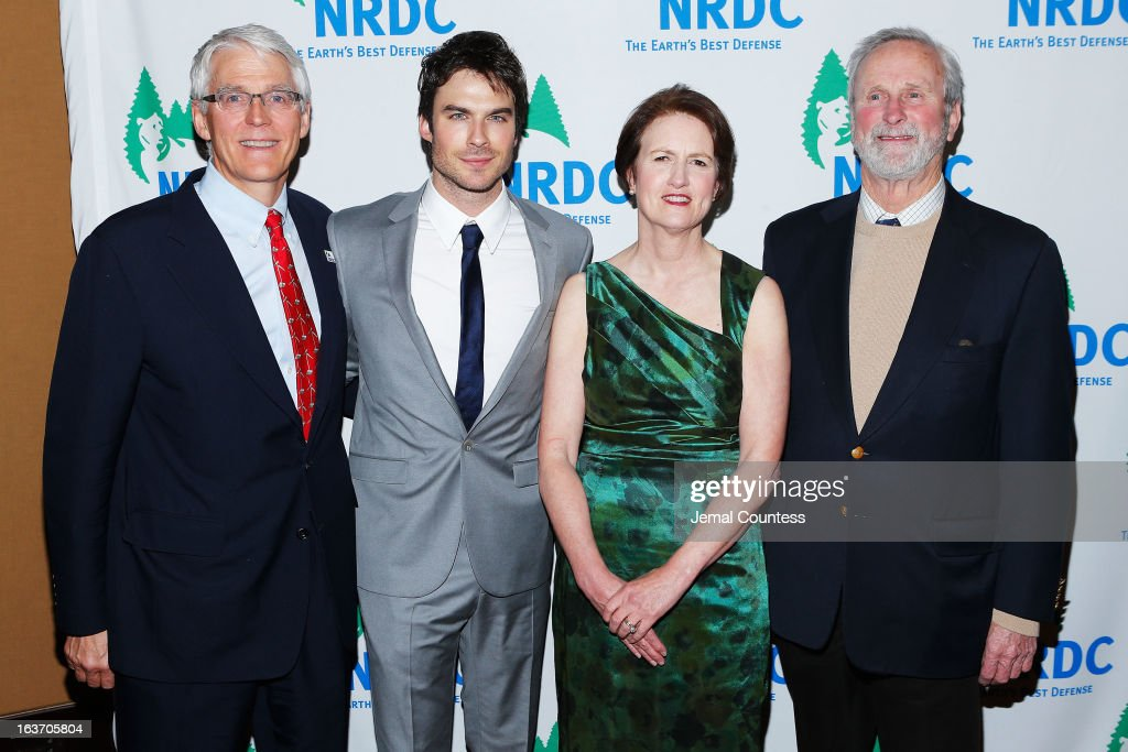 Executive director of NRDC Peter Lehner, actor <a gi-track='captionPersonalityLinkClicked' href=/galleries/search?phrase=Ian+Somerhalder&family=editorial&specificpeople=614226 ng-click='$event.stopPropagation()'>Ian Somerhalder</a>, NRDC President Frances Beinecke, and NRDC Founding Director John Adams attend the 2013 Natural Resources Defense Council Game Changer Awards at the Mandarin Oriental Hotel on March 14, 2013 in New York City.