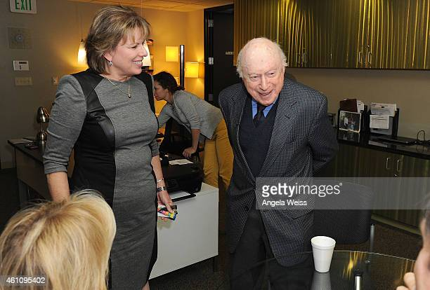 Executive director of SAGAFTRA Ilyanne Morden Kichaven and actor Norman Lloyd attend the Career Reflection with Norman Lloyd at SAG Foundation Actors...