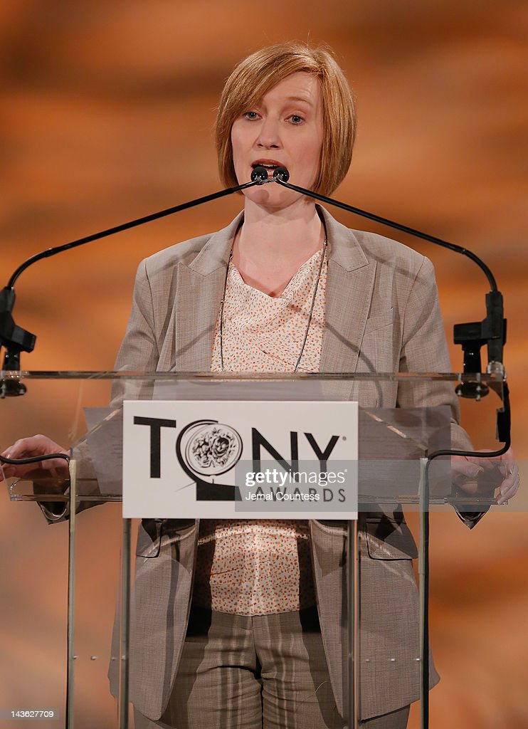 Executive Director of The American Theatre Wing, Heather Hitchens speaks at the 2012 Tony Awards Nominations Announcement at The New York Public Library for Performing Arts on May 1, 2012 in New York City.