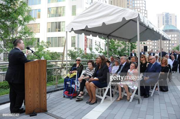 Executive Director of the Anne Frank Center Steven Goldstein speaks during Anne Frank Tree Dedication at Liberty Park on June 12 2017 in New York City