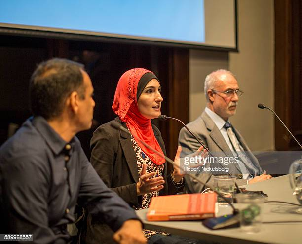 Executive Director of the ArabAmerican Association of New York Linda Sarsour speaks during the 'Life after Surveillance in Bay Ridge's Muslim...