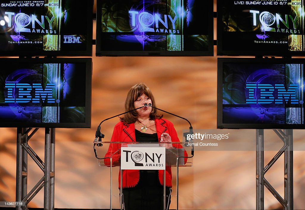 Executive Director of The Broadway League, Charlotte St. Martin speaks at the 2012 Tony Awards Nominations Announcement at The New York Public Library for Performing Arts on May 1, 2012 in New York City.
