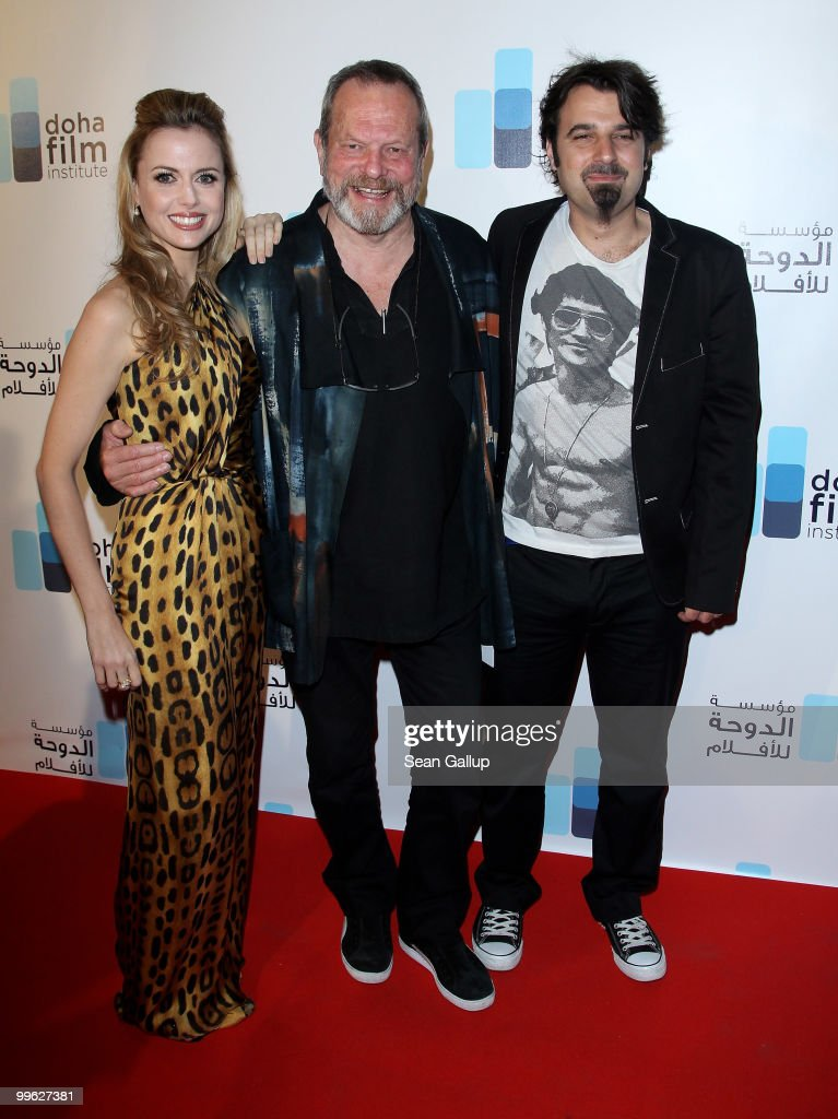 Executive Director of the Doha Film Institute Amanda Palmer, director Terry Gilliam and director Scandar Copti attend the Doha Film Institute launch event on May 16, 2010 in Cannes, France.