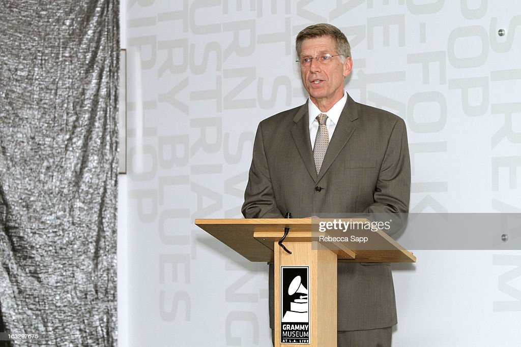 Executive director of the GRAMMY Museum Bob Santelli speaks at the Mike Curb Gallery Opening at The GRAMMY Museum on March 7, 2013 in Los Angeles, California.