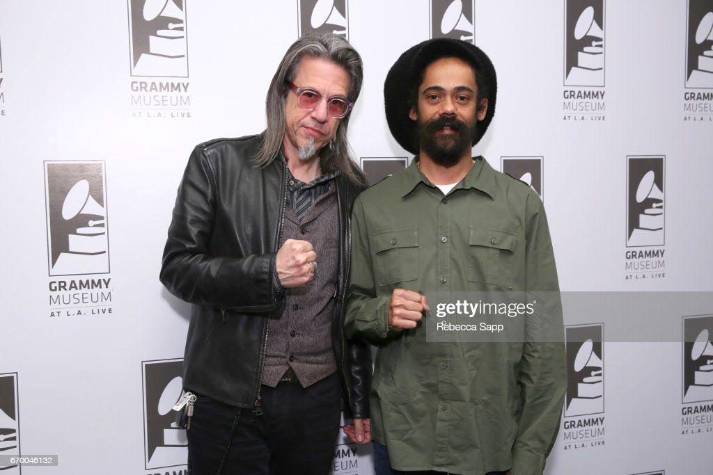 Executive Director of the GRAMMY Museum Scott Goldman and musician Damian 'Jr. Gong' Marley attend A Conversation With Damian 'Jr. Gong' Marley at The GRAMMY Museum on April 18, 2017 in Los Angeles, California.