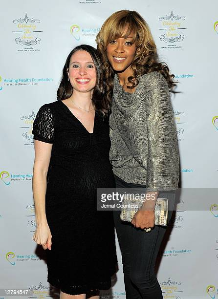 Executive Director of the Hearing Health Foundation Andrea Boidman and singer Shontelle pose for a photo during the Hearing Health Foundation's...