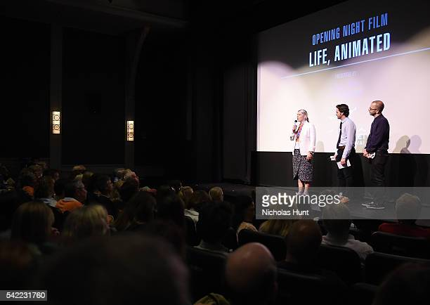 Executive Director of the Nantucket Film Festival Mystelle Brabbee Bill Curran and Basil Tsiokos give an introduction at the 2016 Nantucket Film...
