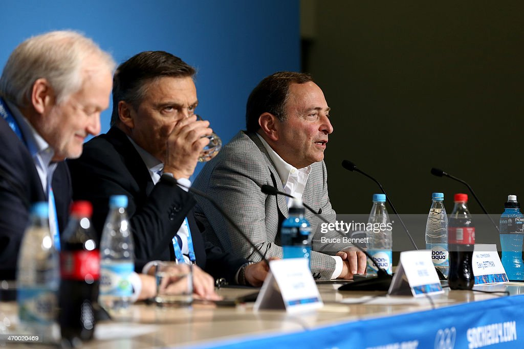Executive Director of the National Hockey League Players Associatio Donald Fehr, International Ice Hockey Federation President Rene Fasel and National Hockey League Commissioner Gary Bettman speak during a press conference on day eleven of the Sochi 2014 Winter Olympics on February 18, 2014 in Sochi, Russia.