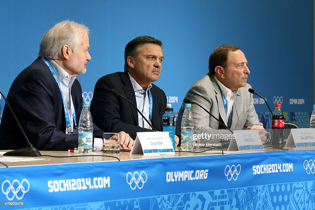 Executive Director of the National Hockey League Players Associatio <a gi-track='captionPersonalityLinkClicked' href=/galleries/search?phrase=Donald+Fehr&family=editorial&specificpeople=224618 ng-click='$event.stopPropagation()'>Donald Fehr</a>, International Ice Hockey Federation President <a gi-track='captionPersonalityLinkClicked' href=/galleries/search?phrase=Rene+Fasel&family=editorial&specificpeople=2163959 ng-click='$event.stopPropagation()'>Rene Fasel</a> and National Hockey League Commissioner <a gi-track='captionPersonalityLinkClicked' href=/galleries/search?phrase=Gary+Bettman&family=editorial&specificpeople=215089 ng-click='$event.stopPropagation()'>Gary Bettman</a> speak during a press conference on day eleven of the Sochi 2014 Winter Olympics on February 18, 2014 in Sochi, Russia.