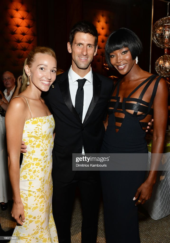 Executive Director of the <a gi-track='captionPersonalityLinkClicked' href=/galleries/search?phrase=Novak+Djokovic&family=editorial&specificpeople=588315 ng-click='$event.stopPropagation()'>Novak Djokovic</a> Foundation <a gi-track='captionPersonalityLinkClicked' href=/galleries/search?phrase=Jelena+Ristic&family=editorial&specificpeople=5608157 ng-click='$event.stopPropagation()'>Jelena Ristic</a>, Founding Chairman of the <a gi-track='captionPersonalityLinkClicked' href=/galleries/search?phrase=Novak+Djokovic&family=editorial&specificpeople=588315 ng-click='$event.stopPropagation()'>Novak Djokovic</a> Foundation <a gi-track='captionPersonalityLinkClicked' href=/galleries/search?phrase=Novak+Djokovic&family=editorial&specificpeople=588315 ng-click='$event.stopPropagation()'>Novak Djokovic</a>, and model/event chair <a gi-track='captionPersonalityLinkClicked' href=/galleries/search?phrase=Naomi+Campbell&family=editorial&specificpeople=171722 ng-click='$event.stopPropagation()'>Naomi Campbell</a> attend the <a gi-track='captionPersonalityLinkClicked' href=/galleries/search?phrase=Novak+Djokovic&family=editorial&specificpeople=588315 ng-click='$event.stopPropagation()'>Novak Djokovic</a> Foundation New York dinner at Capitale on September 10, 2013 in New York City.