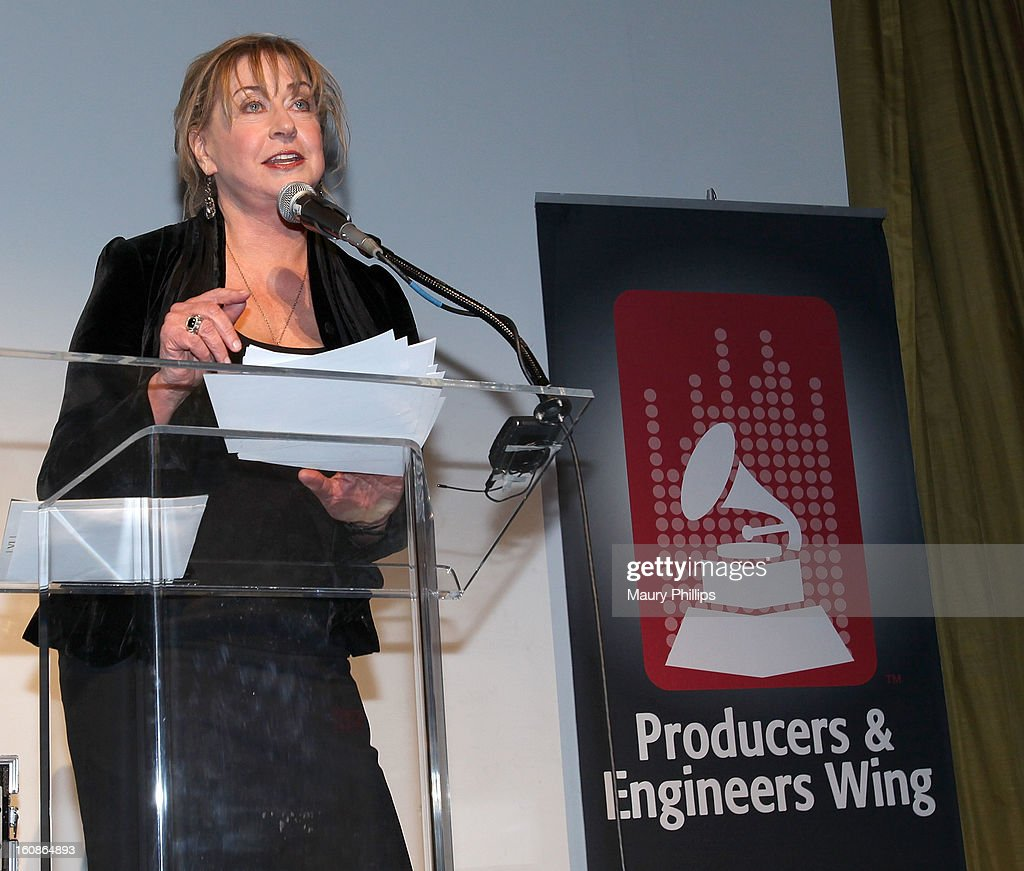 Executive director of the Producers and Engineers Wing Maureen Droney speaks onstage during The 55th Annual GRAMMY Awards - Producers and Engineers Wing event honoring Quincy Jones And Al Schmitt on February 6, 2013 in Los Angeles, California.