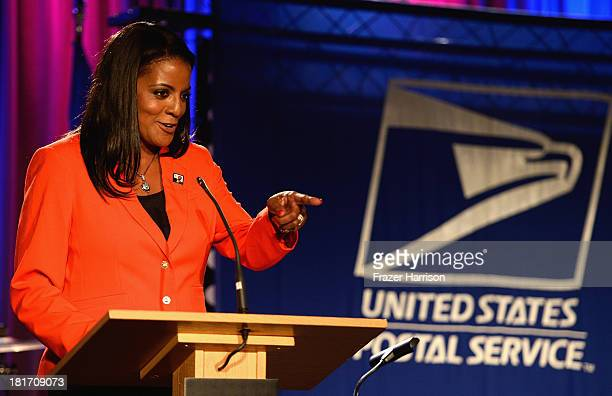 Executive Director of the Ray Charles Foundation Valerie Ervin speaks at the unveiling of the new Ray Charles stamp at the GRAMMY Museum in Los...
