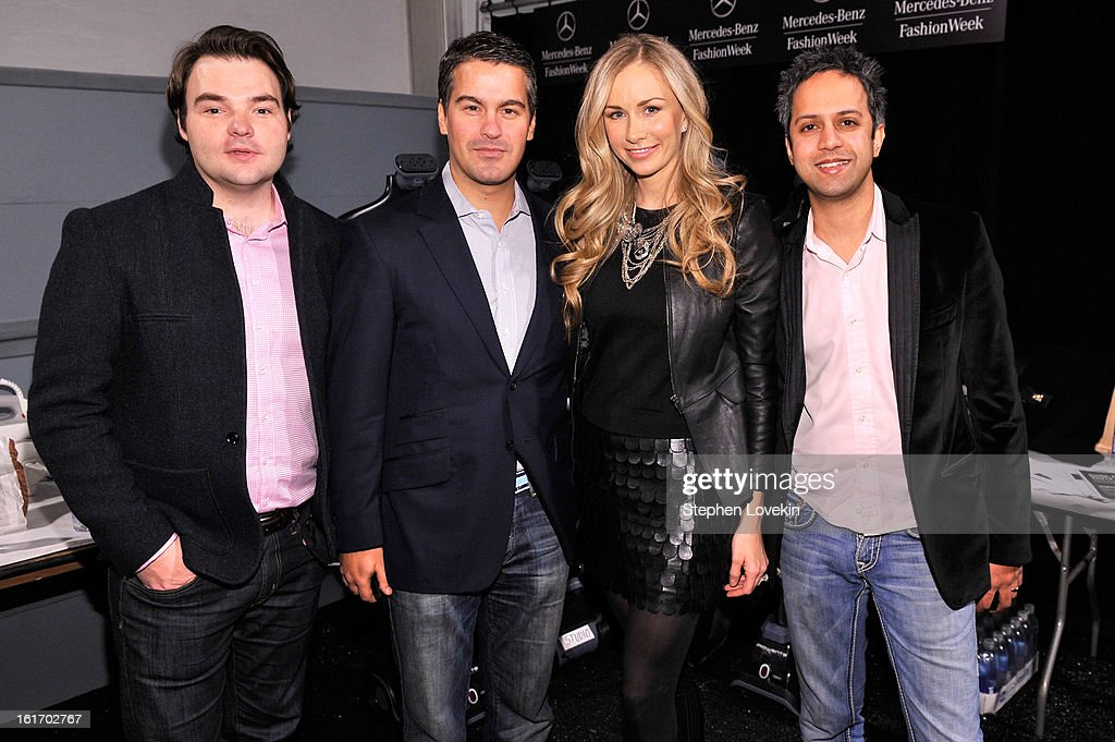 Executive Director of The Studio at Condé Nast Cameron Connors, Founder of Fashion Dashboard Stephan Alber, and Founders of Avant-Garde Carrie Mantha and Ajay Mantha attend The Decoded Fashion Forum & Hackathon Finale Fall 2013 fashion show during Mercedes-Benz Fashion Week at The Stage at Lincoln Center on February 14, 2013 in New York City.