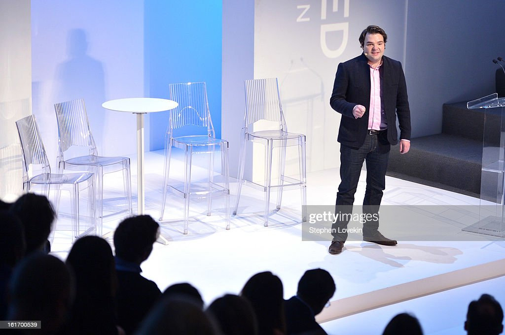 Executive Director of The Studio at Condé Nast Cameron Connors speaks onstage at The Decoded Fashion Forum & Hackathon Finale Fall 2013 fashion show during Mercedes-Benz Fashion Week at The Stage at Lincoln Center on February 14, 2013 in New York City.