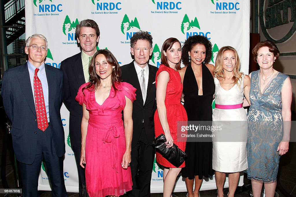 Executive director Peter Lehner, Malkin Holdings President Tony Malkin, artist Shelly Malkin, singer/songwriter Lyle Lovett, April Kimble, actress Gloria Rubens, singer/songwriter Sheryl Crow and NRDC president Frances Beinecke attend the 12th annual 'Forces for Nature' gala benefit at Pier Sixty at Chelsea Piers on April 15, 2010 in New York City.