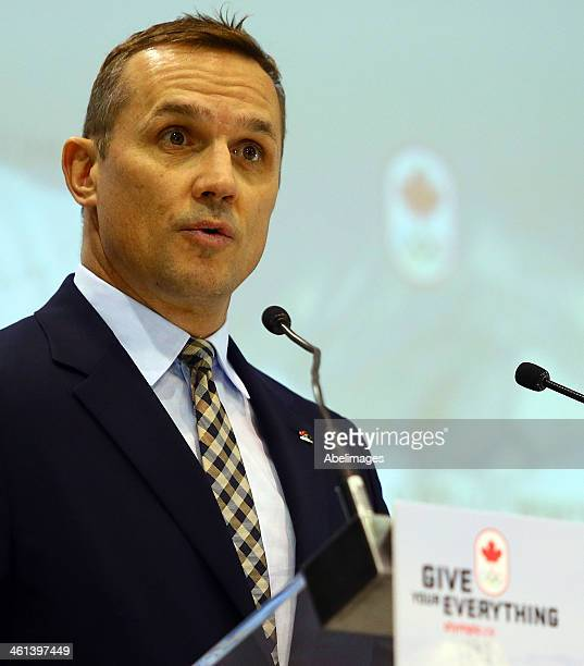 Executive director Steve Yzerman announces the Roster of the Canadian Men's Olympic Hockey team at the Mastercard Centre ahead of the Sochi Winter...