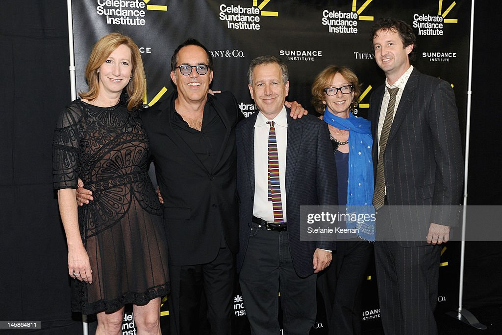 Executive Director, Sundance Institute Keri Putnam, director, Sundance Film Festival John Cooper, director, Sundance Institute Film Music Program Peter Golub, Founding director of the Sundance Institute's Feature Film Program Michelle Satter and director of Programming Trevor Groth arrive at the Sundance Institute Benefit presented by Tiffany & Co. in Los Angeles held at Soho House on June 6, 2012 in West Hollywood, California.
