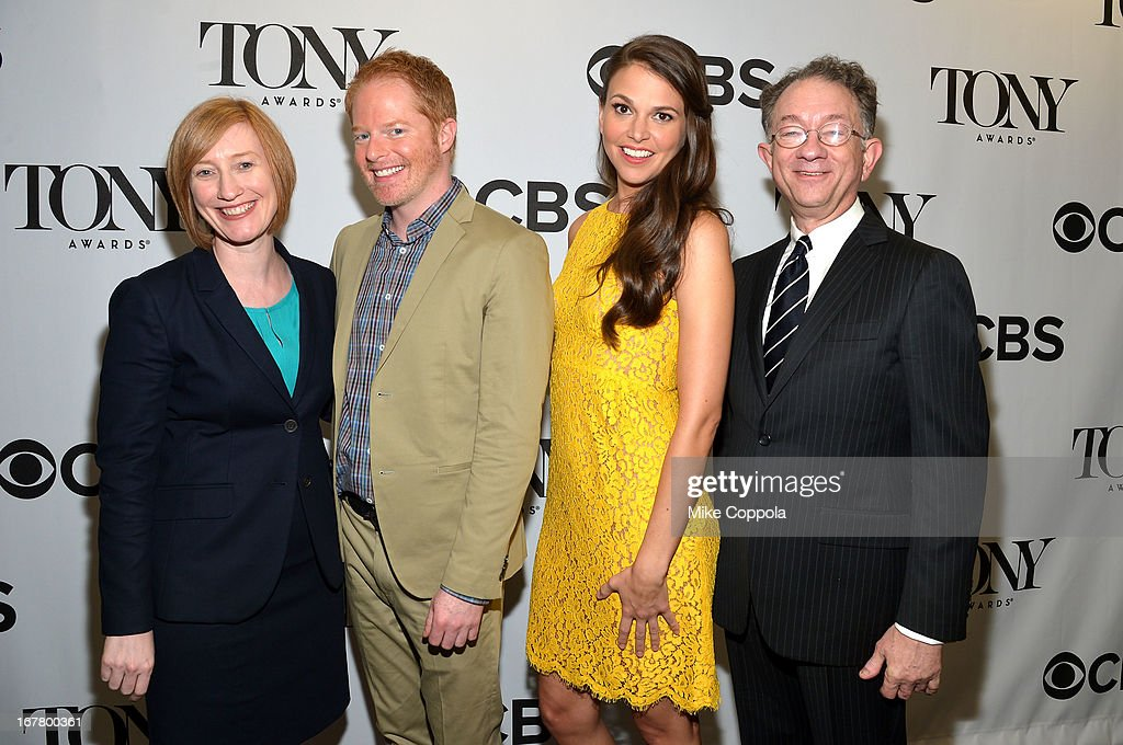 Executive director, The American Theatre Wing Heather Hitchens, actor Jesse Tyler Fergusin, actress <a gi-track='captionPersonalityLinkClicked' href=/galleries/search?phrase=Sutton+Foster&family=editorial&specificpeople=220522 ng-click='$event.stopPropagation()'>Sutton Foster</a> and chairman, The American Theatre Wing William Ivey Long during the 2013 Tony Awards Nominations Ceremony at The New York Public Library for Performing Arts on April 30, 2013 in New York City.