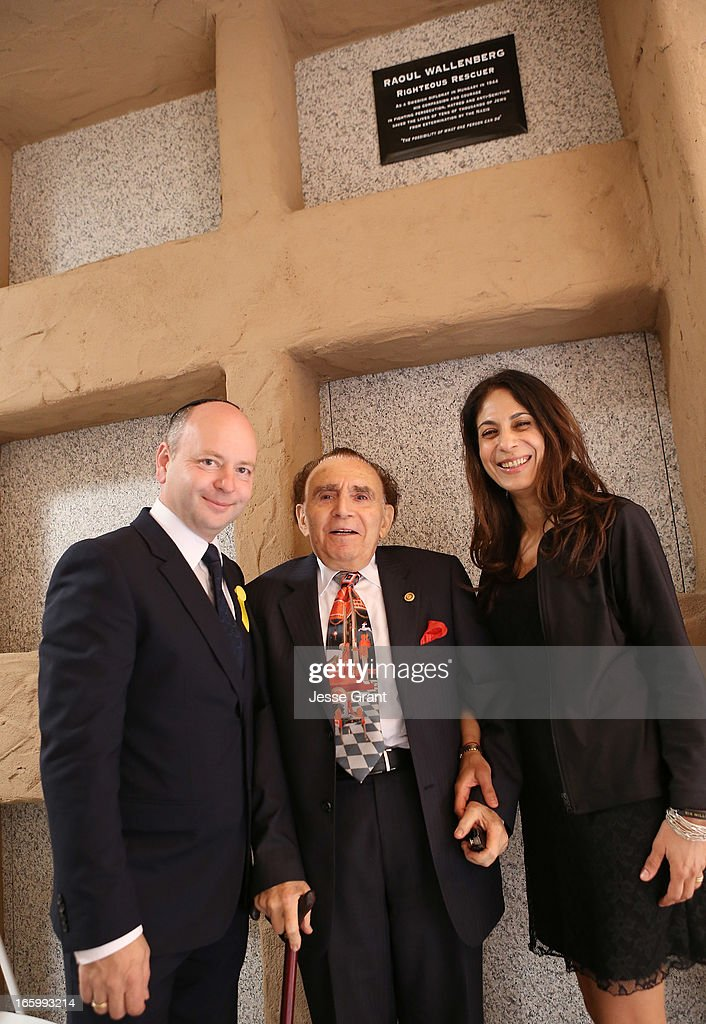 Executive Director USC Shoah Foundation/Founder of the UK Holocaust Centre Stephen D. Smith, Wallenberg survivor/rescuer Andrew Stevens and Director of Association for Jewish Culture in Sweden Lizzie Scheja attend the Six Million Coins Initiative Launch for Holocaust Remembrance Day at Mount Sinai - Simi Valley on April 7, 2013 in Simi Valley, California.