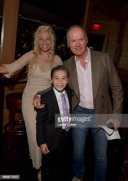 Executive Director Vice Chairman of the Jazz Foundation of America Wendy Oxenhorn pianist Brandon Goldberg and actor Michael Keaton attend an evening...