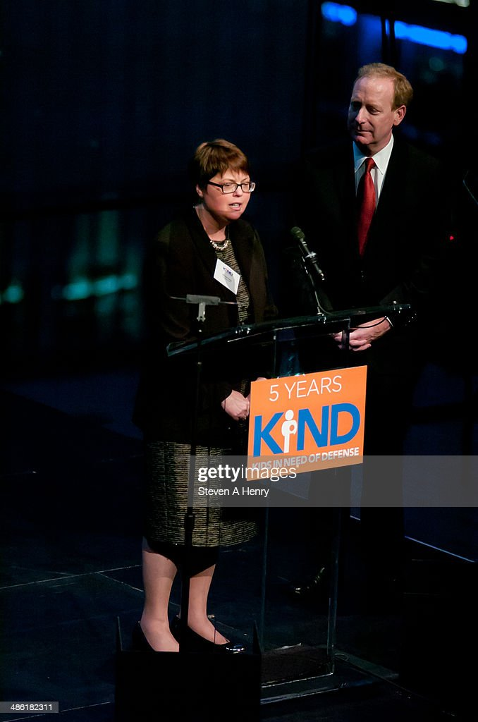 Executive Director Wendy Young and Microsoft General Counsel Brad Smith speak at the 2014 Kids In Need Of Defense Gala Benefit Dinner at Frederick P. Rose Hall, Jazz at Lincoln Center on April 22, 2014 in New York City.