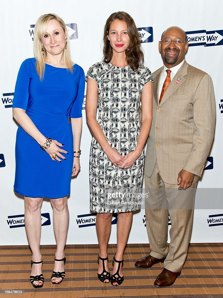Executive Director Women's Way Amanda S. Aronoff, honoree <a gi-track='captionPersonalityLinkClicked' href=/galleries/search?phrase=Christy+Turlington&family=editorial&specificpeople=207046 ng-click='$event.stopPropagation()'>Christy Turlington</a> Burns and Philadelphia Mayor and president of the United States Conference of Mayors <a gi-track='captionPersonalityLinkClicked' href=/galleries/search?phrase=Michael+Nutter&family=editorial&specificpeople=4695146 ng-click='$event.stopPropagation()'>Michael Nutter</a> attend the 36th Annual Women's Way Powerful Voice Awards honoring <a gi-track='captionPersonalityLinkClicked' href=/galleries/search?phrase=Christy+Turlington&family=editorial&specificpeople=207046 ng-click='$event.stopPropagation()'>Christy Turlington</a> Burns at the Sheraton Philadelphia Downtown Hotel on May 9, 2013 in Philadelphia, Pennsylvania.