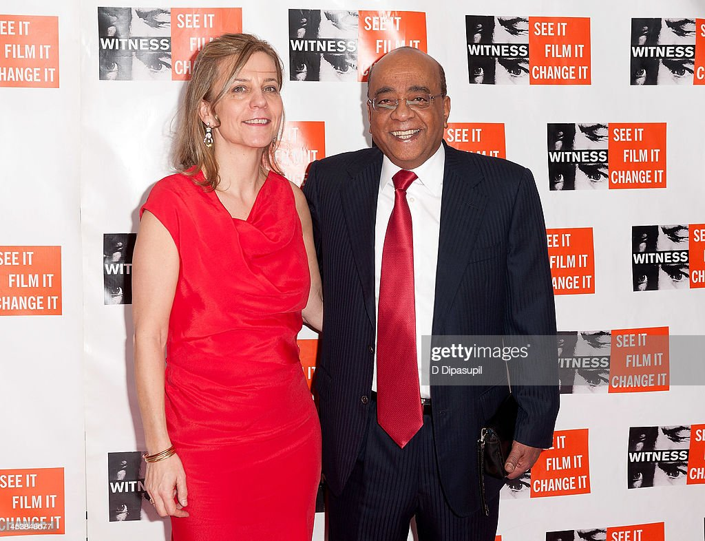 WITNESS executive director Yvette Alberdingk Thijm (L) and honoree Dr. Mo Ibrahim attend the 2013 Focus For Change gala benefiting WITNESS at Roseland Ballroom on December 5, 2013 in New York City.