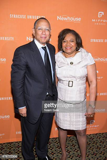 Executive editor of The New York Times Dean Baquet and Dean at SI Newhouse School of Public Communications Lorraine Branham attends the Mirror Awards...