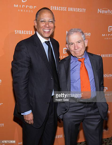 Executive editor of The New York Times Dean Baquet and president of Advance Publications Donald Newhouse attend the Mirror Awards '15 at Cipriani...
