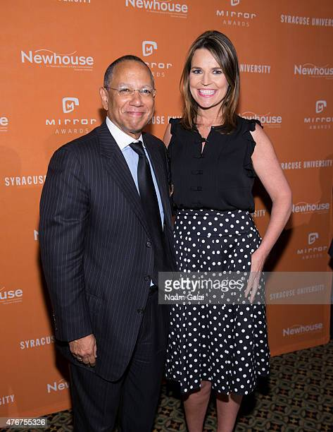 Executive editor of The New York Times Dean Baquet and Savannah Guthrie attend the Mirror Awards '15 at Cipriani 42nd Street on June 11 2015 in New...