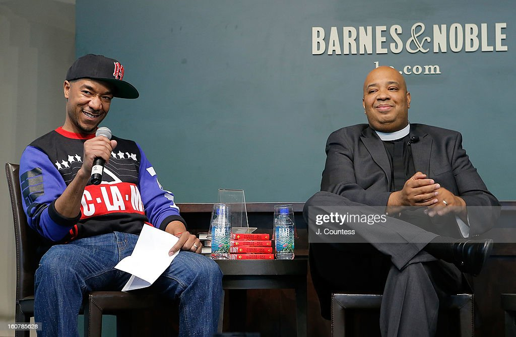 Executive Editor of Vibe Magazine Datwon Thomas and rapper/reality television personaility Rev Run onstage during a book signing for the book 'Manology: Secrets of a Man's Mind Revealed'at Barnes & Noble Union Square on February 5, 2013 in New York City.