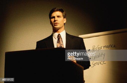 Executive giving business presentation : Stock Photo