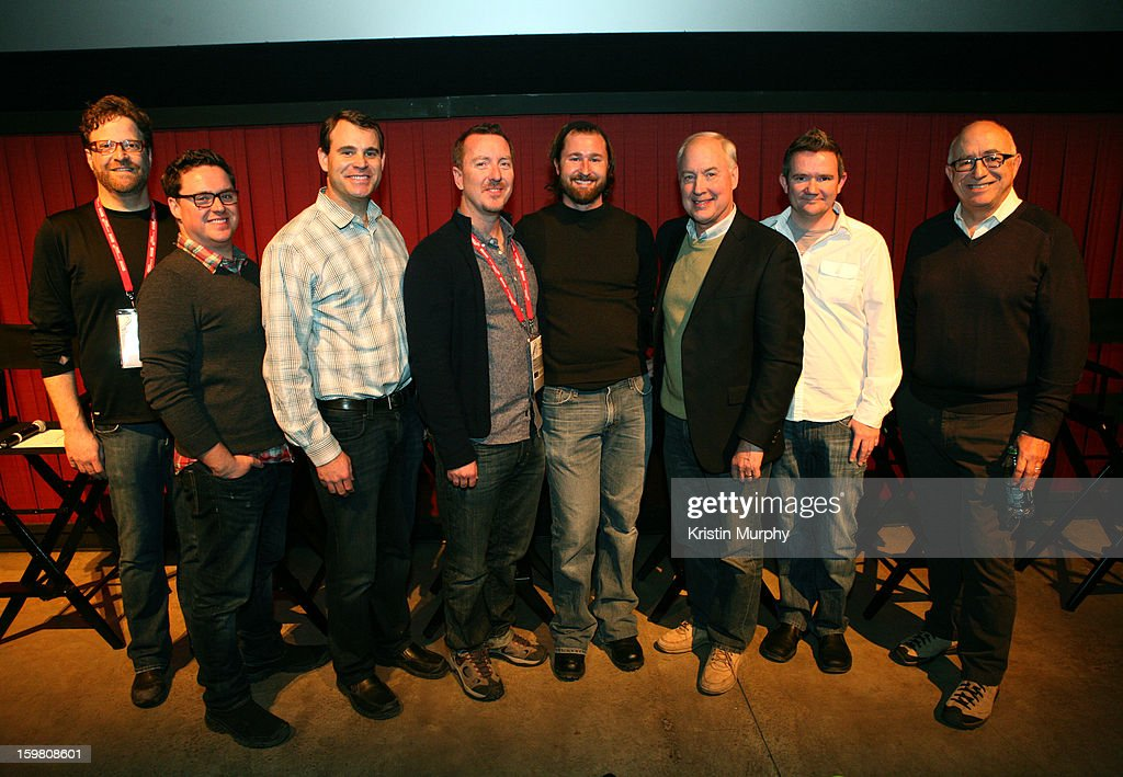 Executive in Charge of Skywalker Sound Phil Benson, sound editors Will Files, Erik Aadahl and Ben Burtt, Sr Worldwide Technical Marketing Manager at Dolby Laboratories Stuart Bowling and sound editor Randy Thom pose onstage during the Dolby Laboratories Presentation at Holiday Village Cinema VI during the 2013 Sundance Film Festival on January 20, 2013 in Park City, Utah.