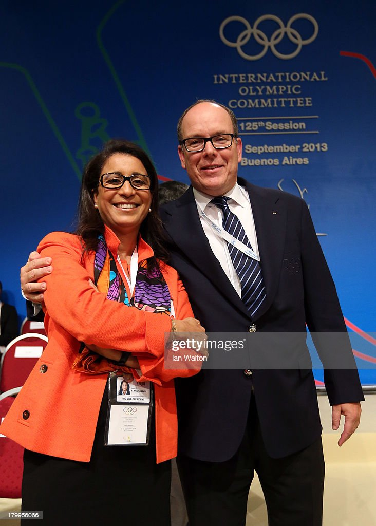 Executive Member <a gi-track='captionPersonalityLinkClicked' href=/galleries/search?phrase=Nawal+El+Moutawakel&family=editorial&specificpeople=215203 ng-click='$event.stopPropagation()'>Nawal El Moutawakel</a> and IOC Member Prince Albert II of Monaco pose during the 125th IOC Session - 2020 Olympics Host City Announcement at Hilton Hotel on September 7, 2013 in Buenos Aires, Argentina.