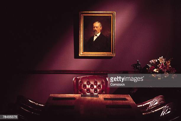 Executive office with portrait on the wall