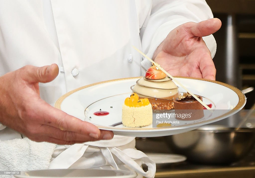Executive Pastry Chef Thomas Henzi presents the Golden Globes menu and table preview at The Beverly Hilton Hotel on January 3, 2013 in Beverly Hills, California.