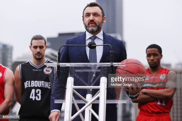 Executive Patrick Delany from Fox Sports on stage during the 2017/18 NBL and WNBL Season Launch at Crown Towers on September 11 2017 in Melbourne...