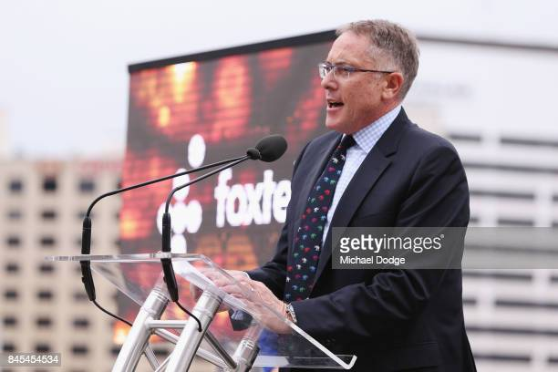 Executive Patrick Delany from Fox Sports speaks on stage during the 2017/18 NBL and WNBL Season Launch at Crown Towers on September 11 2017 in...