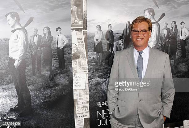 Executive producer Aaron Sorkin arrives at the Los Angeles Season 2 premiere of HBO's series 'The Newsroom' at Paramount Studios on July 10 2013 in...