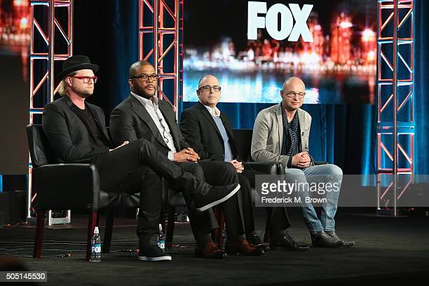 Executive Producer Adam Anders Host/Narrator Tyler Perry Executive Producer Mark Bracco and Executive Producer/Creator Jacco Doornbos speak onstage...