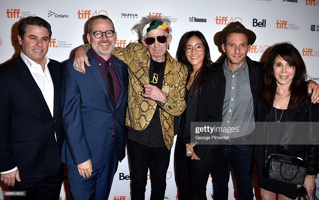 Executive Producer Adam Del Deo, Director/Producer Morgan Neville, musician Keith Richards, Executive Producer Lisa Nishimura, producers Justin Wilkes and Jane Rose attend the 'Keith Richards: Under The Influence' premiere during the 2015 Toronto International Film Festival at Princess of Wales Theatre on September 17, 2015 in Toronto, Canada.