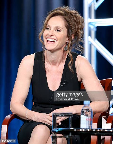Executive producer Amy Brenneman speaks onstage during the 'Heartbeat' panel discussion at the NBCUniversal portion of the 2015 Winter TCA Tour at...