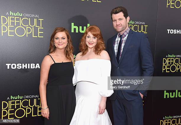 Executive Producer Amy Poehler actress Julie Klausner and actor Billy Eichner attend the 'Difficult People' New York Premiere at School of Visual...