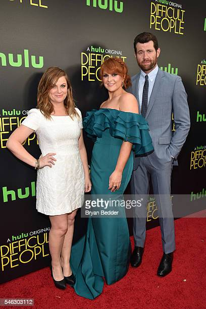 Executive producer Amy Poehler creator writer and actor Julie Klausner and actor Billy Eichner attend the Hulu Original Difficult People premiere at...