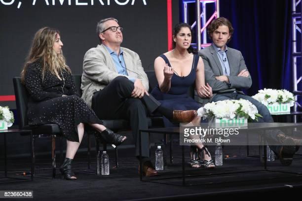 Executive producer Amy Zvi executive producer Adam McKay star/executive producer Sarah Silverman and showrunner/executive producer Gavin Purcell of...