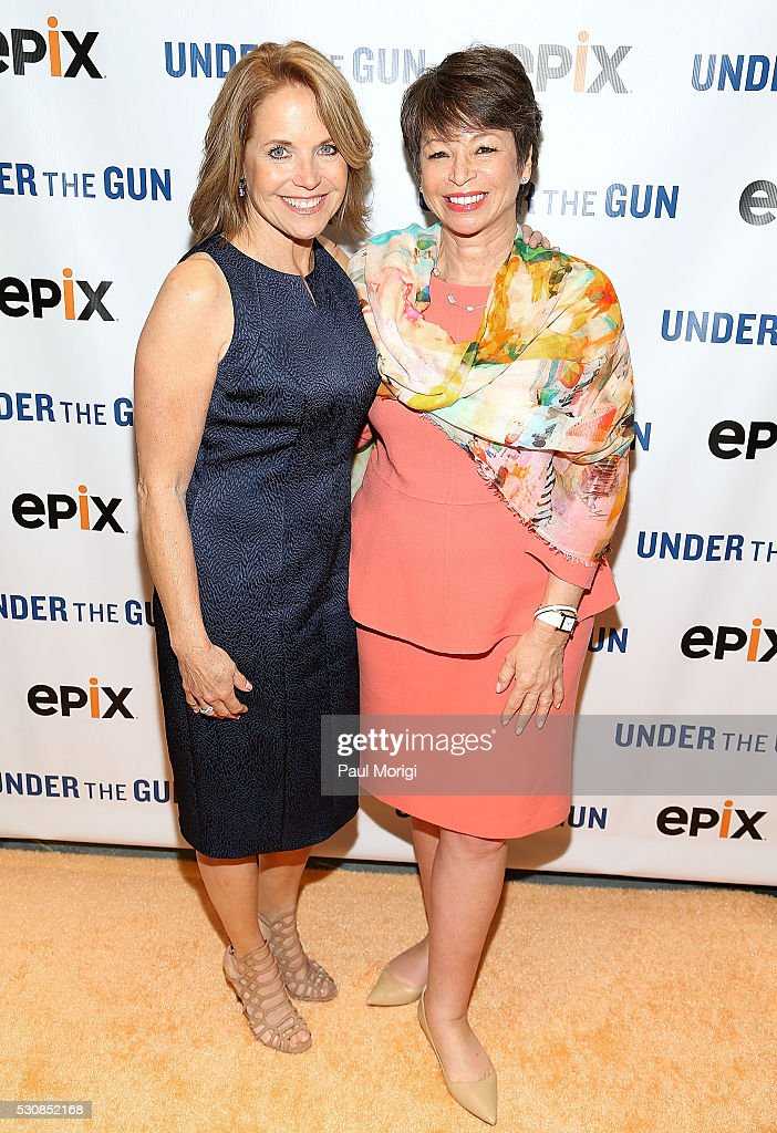 Executive Producer and Narrator <a gi-track='captionPersonalityLinkClicked' href=/galleries/search?phrase=Katie+Couric&family=editorial&specificpeople=202633 ng-click='$event.stopPropagation()'>Katie Couric</a> (L) and <a gi-track='captionPersonalityLinkClicked' href=/galleries/search?phrase=Valerie+Jarrett&family=editorial&specificpeople=5003206 ng-click='$event.stopPropagation()'>Valerie Jarrett</a>, White House Senior Advisor to U.S. President Barack Obama, attend the UNDER THE GUN DC premiere featuring <a gi-track='captionPersonalityLinkClicked' href=/galleries/search?phrase=Katie+Couric&family=editorial&specificpeople=202633 ng-click='$event.stopPropagation()'>Katie Couric</a> and <a gi-track='captionPersonalityLinkClicked' href=/galleries/search?phrase=Valerie+Jarrett&family=editorial&specificpeople=5003206 ng-click='$event.stopPropagation()'>Valerie Jarrett</a> at the Burke Theater at the U.S. Navy Memorial on May 11, 2016 in Washington, DC.