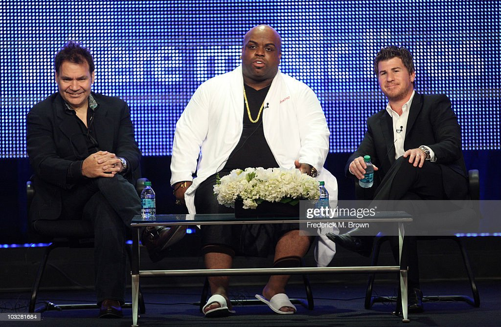 Executive producer and senior VP programming Fuse Sal LoCurto, Musician <a gi-track='captionPersonalityLinkClicked' href=/galleries/search?phrase=Cee-Lo&family=editorial&specificpeople=595640 ng-click='$event.stopPropagation()'>Cee-Lo</a> Green and executive producer <a gi-track='captionPersonalityLinkClicked' href=/galleries/search?phrase=Jason+Hervey&family=editorial&specificpeople=837712 ng-click='$event.stopPropagation()'>Jason Hervey</a> speak during the 'Lay It Down' panel during the Fuse portion the 2010 Summer TCA press tour held at the Beverly Hilton on August 7, 2010 in Beverly Hills, California.