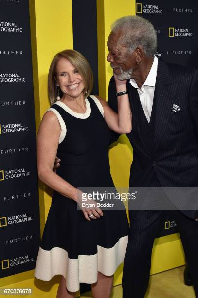 Executive Producer and TV Personality Katie Couric greets actor and host Morgan Freeman at National Geographic's Further Front Event at Jazz at...