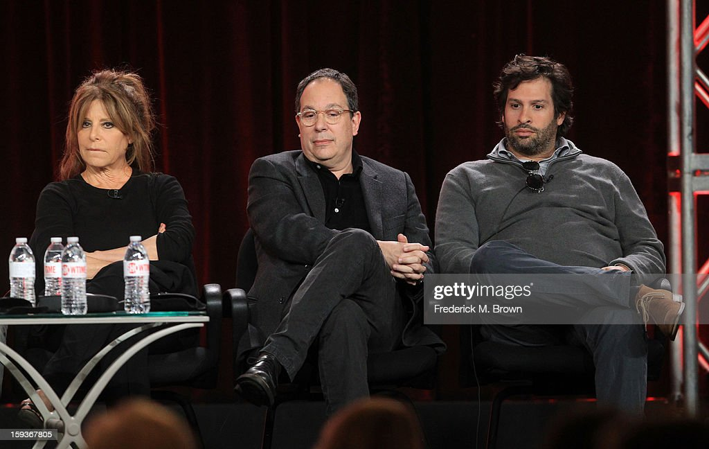 Executive Producer Ann Biderman, Executive Producer Mark Gordon and Executve Producer Bryan Zuriff listen onstage to questions from the audience during the Showtime portion of the 2013 Winter TCA Tour at Langham Hotel on January 12, 2013 in Pasadena, California.